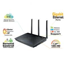 Asus Router RT-AC66U 10/100/1000 Mbit/s, Ethernet LAN (RJ-45) ports 4, 2.4GHz/5GHz, Wi-Fi standards 802.11ac, 450+1300 Mbit/s, Antenna type External, Antennas quantity 3, USB ports quantity 2