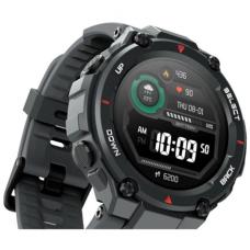 Amazfit T-Rex Smart watch, GPS (satellite), AMOLED Display, Touchscreen, Heart rate monitor, Activity monitoring 24/7, Waterproof, Bluetooth, Rock Black